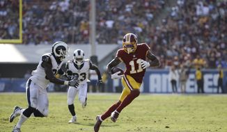 Washington Redskins' Terrelle Pryor carries the ball during an NFL football game against the Los Angeles Rams Sunday, Sept. 17, 2017, in Los Angeles. (AP Photo/Jae C. Hong) ** FILE **