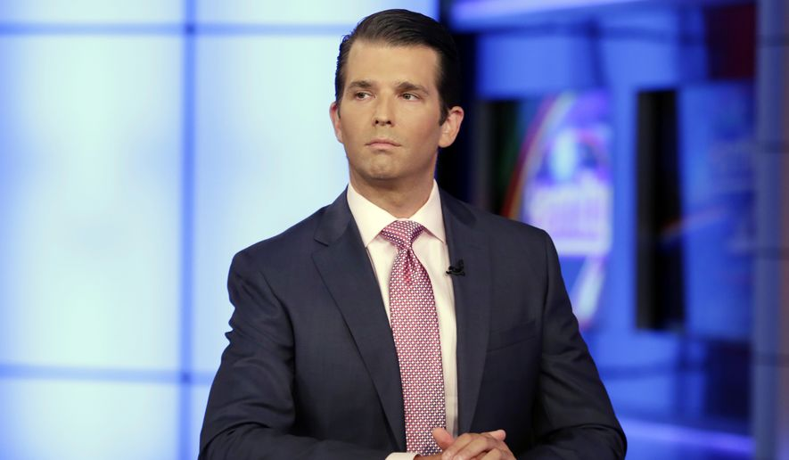 Donald Trump Jr. is interviewed by host Sean Hannity on the Fox News Channel television program, in New York. (AP Photo/Richard Drew, File)