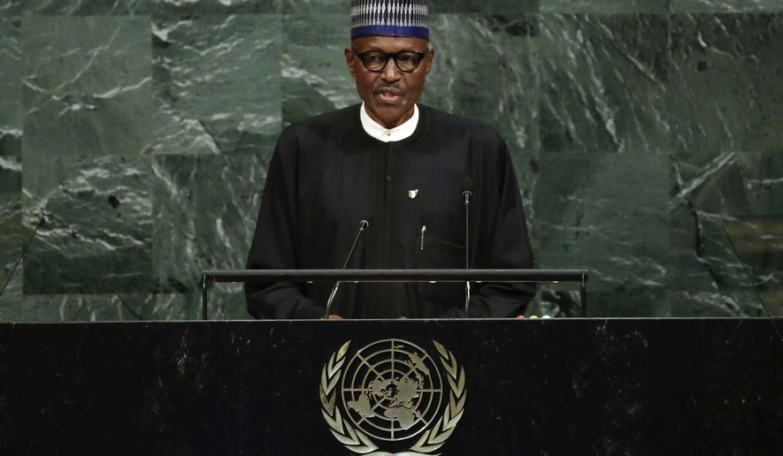 President Muhammadu Buhari of Nigeria addresses the 72nd session of the United Nations General Assembly, at U.N. headquarters, Tuesday, Sept. 19, 2017. (AP Photo/Richard Drew)