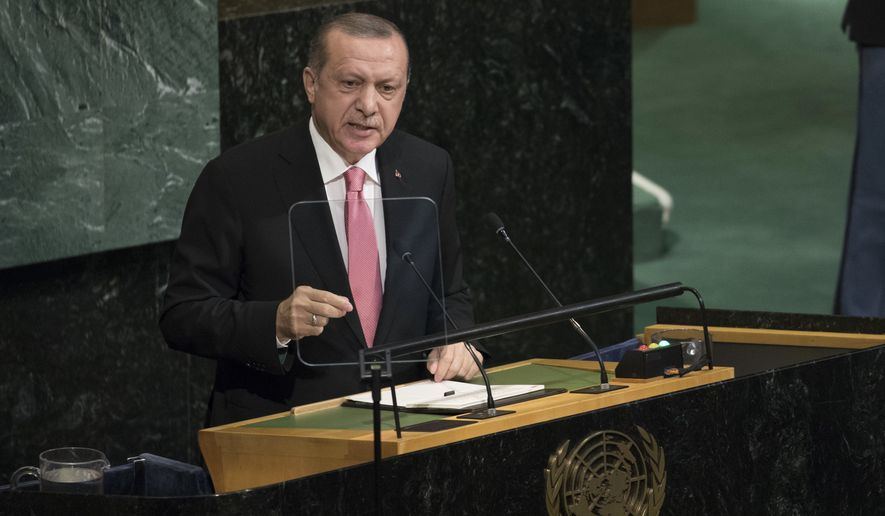 Turkish President Recep Tayyip Erdogan speaks during the United Nations General Assembly at U.N. headquarters, Tuesday, Sept. 19, 2017. (AP Photo/Mary Altaffer)