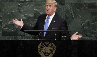U.S. President Donald Trump addresses the 72nd session of the United Nations General Assembly, at U.N. headquarters, Tuesday, Sept. 19, 2017. (AP Photo/Richard Drew)