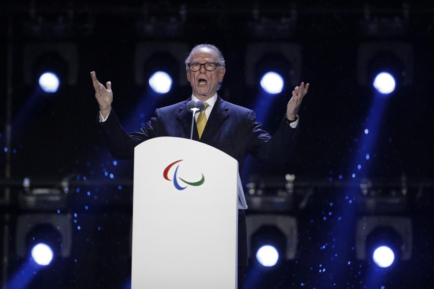 FILE - In this Sept. 18, 2016 file photo, Carlos Nuzman, President of the Rio 2016 Organizing Committee, speaks during the closing ceremony of the Rio 2016 Paralympic Games at the Maracana Stadium in Rio de Janeiro, Brazil. Brazilian Senator Romario de Souza Faria, the star of Brazil's 1994 World Cup winning team,told The Associated Press on Tuesday, Sept. 19, 2017,  hopes to open a congressional investigation of Nuzman, who headed last year's Rio de Janeiro Olympics. (AP Photo/Leo Correa, File)