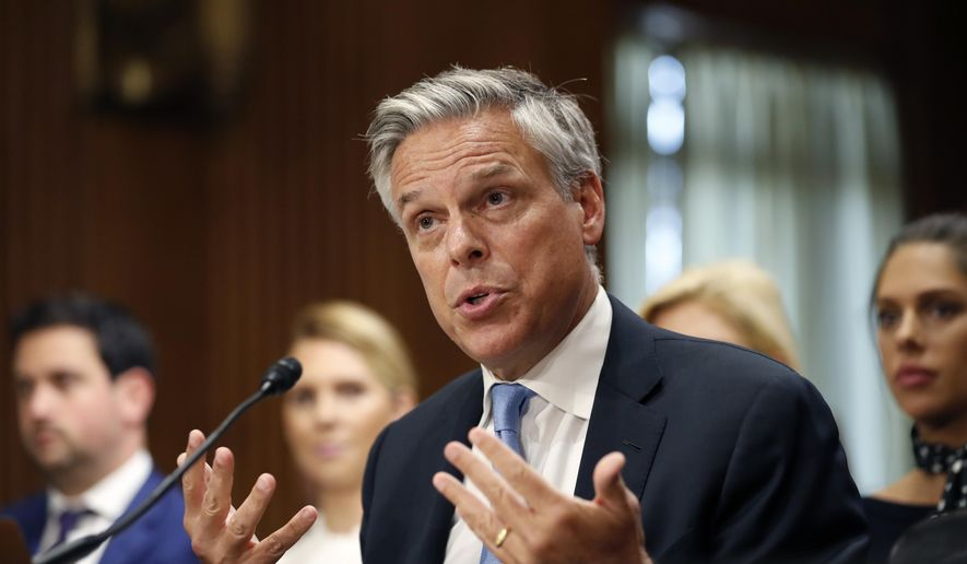 Former Utah Gov. Jon Huntsman testifies during a hearing of the Senate Foreign Relations Committee on his nomination to become the U.S. ambassador to Russia, on Capitol Hill, Tuesday, Sept. 19, 2017 in Washington. (AP Photo/Alex Brandon)