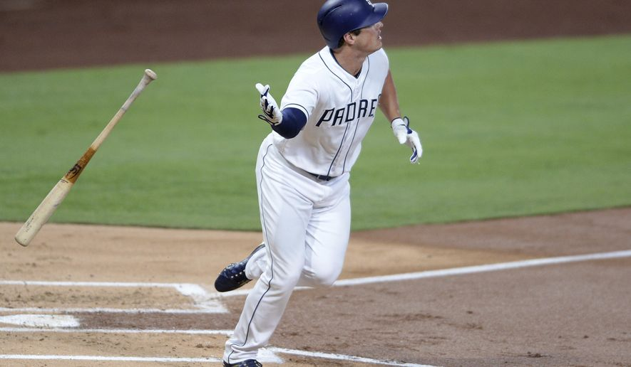 San Diego Padres' Hunter Renfroe throws his bat as he watches his three-run home run during the first inning of a baseball game against the Arizona Diamondbacks, Monday, Sept. 18, 2017, in San Diego. (AP Photo/Orlando Ramirez)