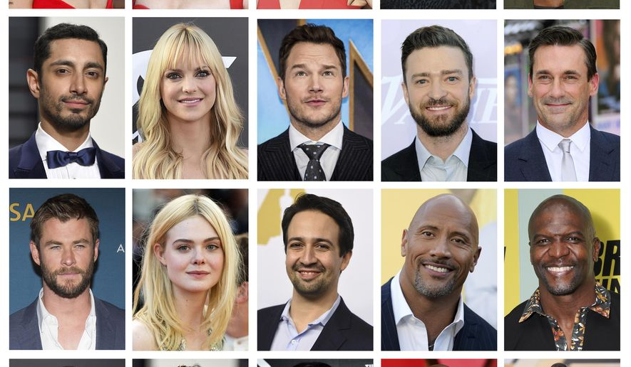 This combination photo shows, top row from left,  Zoe Kravitz, Amy Poehler, Kate McKinnon, Maya Rudolph and Leslie Jones, second row from left, Riz Ahmed, Anna Faris, Chris Pratt, Justin Timberlake and Jon Hamm, from third row from left, Chris Hemsworth,  Elle Fanning, Lin-Manuel Miranda, Dwayne Johnson and Terry Crews, and bottom rom from left, Jordan Peele,  Janelle Monae, Priyanka Chopra, Barry Jenkins and Gal Gadot, some of the newest members of the Academy of Motion Picture Arts and Sciences.  (AP Photo/File)