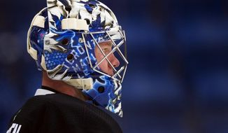 Toronto Maple Leafs goalie Frederik Andersen looks up the ice during NHL hockey training camp in Niagara Falls, Ontario, Friday, Sept. 15, 2017.  (Nathan Denette/The Canadian Press via AP)