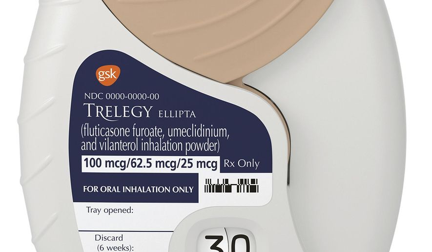 This photo provided by GlaxoSmithKline PLC shows the company's Trelegy Ellipta inhaler. Late Monday, Sept. 18, 2017, the Food and Drug Administration approved the product, which is the first inhaler that combines three medicines to ease breathing in patients with emphysema or chronic bronchitis. (GlaxoSmithKline PLC via AP)