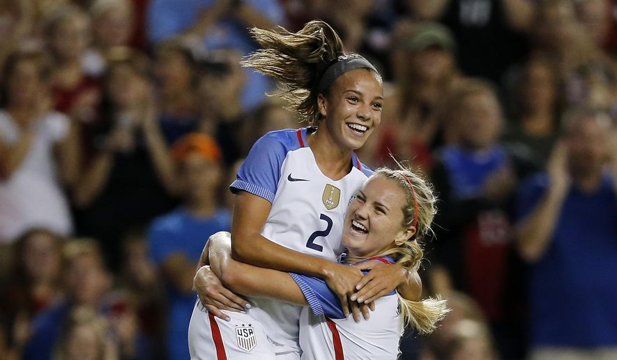 United States forward Mallory Pugh (2) and forward Julie Ertz (8) celebrate Pugh's goal in the first half of the international friendly match against New Zealand at Nippert Stadium in Cincinnati, on Tuesday, Sept. 19, 2017. (Sam Greene/The Cincinnati Enquirer via AP)