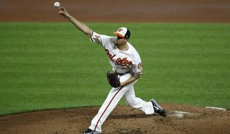 Baltimore Orioles starting pitcher Kevin Gausman throws to the Boston Red Sox in the fifth inning of a baseball game in Baltimore, Tuesday, Sept. 19, 2017. (AP Photo/Patrick Semansky)