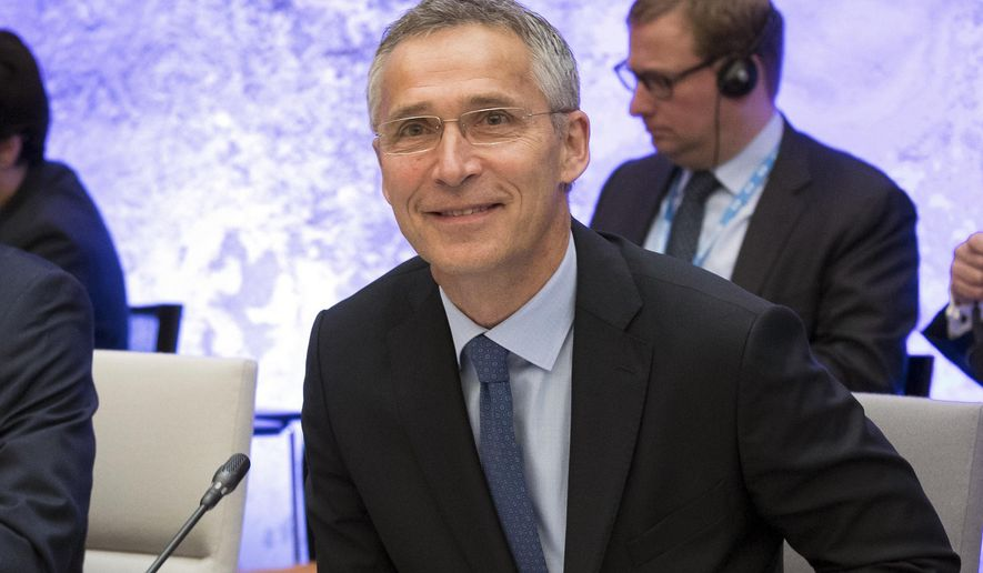 "FILE- In this Sept. 7, 2017, file photo, NATO Secretary General Jens Stoltenberg smiles at the beginning of the informal meeting of the EU ministers of defence in Tallinn, Estonia. Stoltenberg said in an interview Tuesday, Sept. 19, with The Associated Press on the sidelines of the U.N. General Assembly's annual ministerial meeting that after many years of decline, ""we have now seen for the first time since the end of the Cold War a real increase in defense spending across Europe and Canada."" (AP Photo/Liis Treimann, File)"