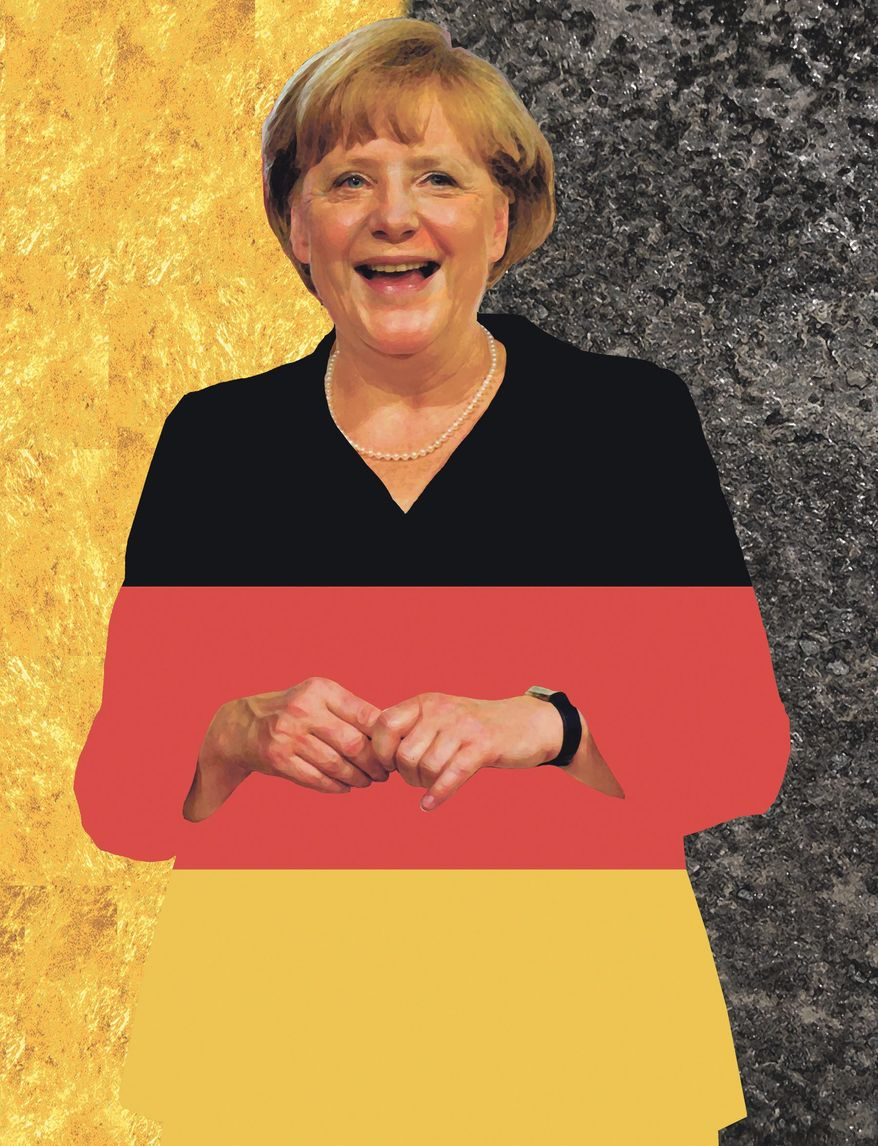 Illustration on Angela Merkel by Alexander Hunter/The Washington Times