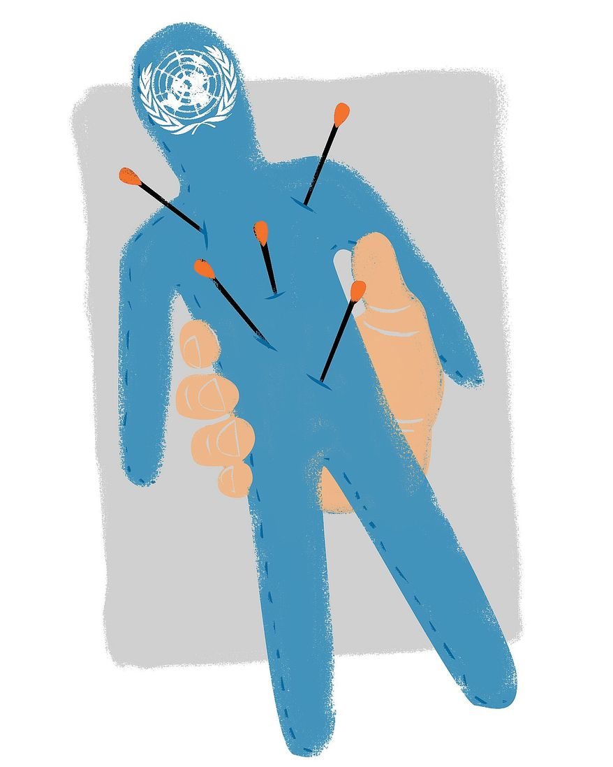 Illustration on changing bad influences on the U.N. by Linas Garsys/The Washington Times