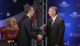 Gubernatorial candidates Lt. Gov. Ralph Northam (left) and Ed Gillespie have both contradicted the Trump administration, saying that Virginia doesn't have any sanctuary cities. Mr. Gillespie's latest attack ad says Mr. Northam opposed sanctuary legislation. (Associated Press) ** FILE **