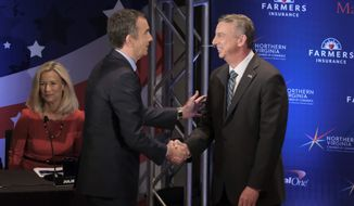 Gubernatorial candidates Lt. Gov. Ralph Northam (left) and Ed Gillespie have both contradicted the Trump administration saying that Virginia doesn't have any sanctuary cities. Mr. Gillespie's latest attack ad says Mr. Northam opposed sanctuary legislation. (Associated Press)