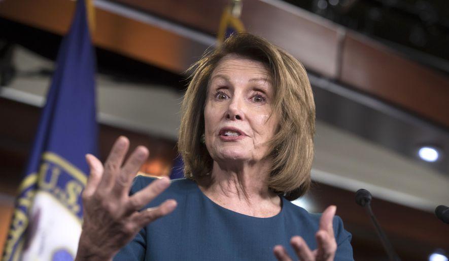 House Minority Leader Nancy Pelosi, D-Calif., speaks with reporters on Capitol Hill in Washington, Wednesday, Sept. 20, 2017. (AP Photo/J. Scott Applewhite) ** FILE **