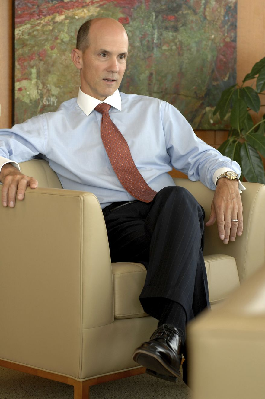 In this May 30, 2007, file photo, Equifax CEO Richard Smith poses for a photo at the Equifax headquarters in Atlanta. (Joey Ivansco/Atlanta Journal-Constitution via AP) ** FILE **