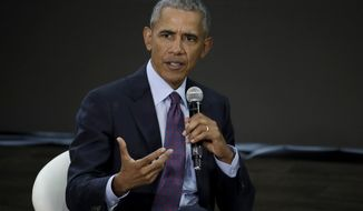 Former President Barack Obama speaks during the Goalkeepers Conference hosted by the Bill and Melinda Gates Foundation, Wednesday, Sept. 20, 2017, in New York. (AP Photo/Julio Cortez)