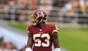Washington Redskins linebacker Zach Brown (53) in action during the first half of an NFL football game against the Los Angeles Rams Sunday, Sept. 17, 2017, in Los Angeles. (AP Photo/Kelvin Kuo) **FILE**