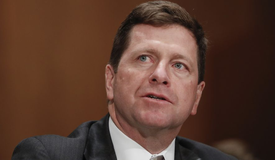 Then-Securities and Exchange Commission (SEC) Chairman nominee Jay Clayton testifies on Capitol Hill in Washington at his confirmation hearing before the Senate Banking Committee. (AP Photo/Pablo Martinez Monsivais, File)