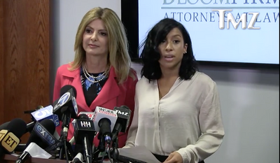 Lisa Bloom, left, with client Montia Sabbag, an actress and singer who says she is the woman shown having sex with Kevin Hart in a sex tape that was used to blackmail the comedian. (TMZ.com)