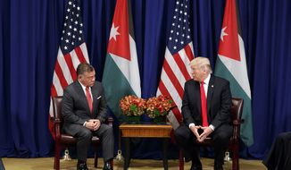 President Donald Trump meets with Jordan's King Abdullah II at the Palace Hotel during the United Nations General Assembly, Wednesday, Sept. 20, 2017, in New York. (AP Photo/Evan Vucci)