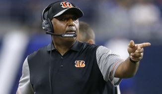 FILE - In this Aug. 18, 2016, file photo, Cincinnati Bengals head coach Marvin Lewis points in the first half of an NFL preseason football game against the Detroit Lions, in Detroit. Coach Marvin Lewis is telling Bengals players that more changes are coming if they continue to lose, and the next job lost could be theirs. (AP Photo/Duane Burleson, File)