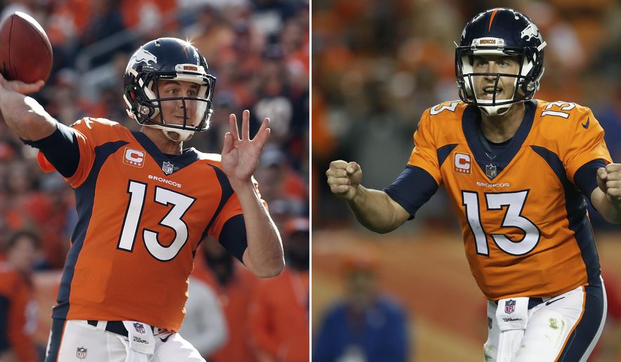 FILE - At left, in a Sept. 17, 2017, file photo, Denver Broncos quarterback Trevor Siemian (13) throws against the Dallas Cowboys during the first half of an NFL football game, in Denver. At right, in a Sept. 11, 2017, file photo, Denver Broncos quarterback Trevor Siemian (13) celebrates against the Los Angeles Chargers during the second half of an NFL football game, in Denver. Entrenching himself as the Broncos' starter,  Siemian is starting to get some love from around the NFL.(AP Photo/File)