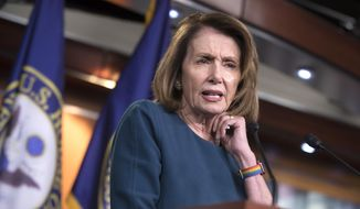 "House Minority Leader Nancy Pelosi, D-Calif., speaks with reporters on Capitol Hill in Washington, Wednesday, Sept. 20, 2017. Pelosi is telling colleagues that she wants ""all hands on deck"" to defeat the latest Republican effort to undo the Affordable Care Act. (AP Photo/J. Scott Applewhite)"