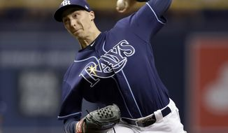 Tampa Bay Rays' Blake Snell pitches to the Chicago Cubs during the first inning of a baseball game Wednesday, Sept. 20, 2017, in St. Petersburg, Fla. (AP Photo/Chris O'Meara)