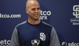 San Diego Padres' Clayton Richard speaks to members of the media in regards to his contract extension before a baseball game against the Arizona Diamondbacks Wednesday, Sept. 20, 2017, in San Diego. (AP Photo/Orlando Ramirez)
