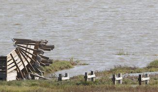 This Sept. 9, 2017 photo shows, a pier which was ripped up by Hurricane Harvey at the Aransas National Wildlife Refuge in Austwell, Texas. Hurricane Harvey damaged the refuge and staff are trying to get it in shape before the endangered whooping cranes and rare sea turtles return to nest. (Irwin Thompson/The Dallas Morning News via AP)