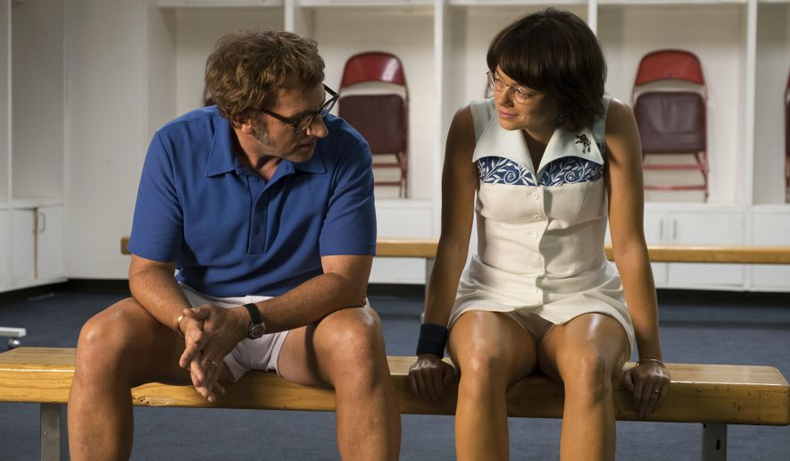 "This image released by Fox Searchlight Pictures shows Steve Carell, left, and Emma Stone in a scene from ""Battle of the Sexes."" (Melinda Sue Gordon/Fox Searchlight Pictures via AP)"