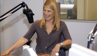 "FILE - In this Sept. 9, 2004 file photo, actress Linda Hamilton laughs during an interview with the Associated Press in Washington.  Hamilton is returning to the ""Terminator"" franchise for the first time since 1991's ""Terminator 2: Judgment Day.""""Terminator"" creator James Cameron announced Hamilton's casting in a private event in Los Angeles on Tuesday, Sept. 19, 2017,  the Hollywood Reporter reported.(AP Photo/Stephen J. Boitano, File)"