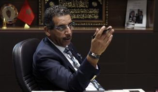 The director of the Central Bureau of Judicial Investigations Abdelhak Khiame gestures during an interview with The Associated Press at his headquarters in Sale near Rabat, Morocco, Tuesday, Sept. 19, 2017. Khiame says his government is working on a new strategy to track Moroccans who radicalize in Europe, as part of beefed-up counterterrorism efforts by a country that is both a key player in the global anti-extremism struggle and a source of international jihadis. (AP Photo/Abdeljalil Bounhar)