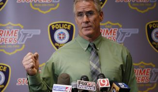 Oklahoma City Police Capt. Bo Mathews answers a question during a news conference in Oklahoma City, Wednesday, Sept. 20, 2017. Mathews said that Oklahoma City police officers who opened fire on a man who was approaching them holding a metal pipe didn't hear witnesses yelling that the man was deaf. (AP Photo/Sue Ogrocki)