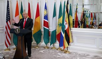 President Donald Trump speaks during a luncheon with African leaders at the Palace Hotel during the United Nations General Assembly, Wednesday, Sept. 20, 2017, in New York. (AP Photo/Evan Vucci)