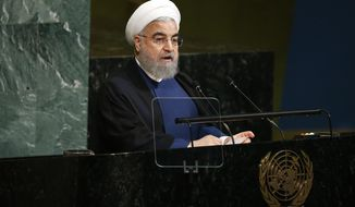 Iranian President Hassan Rouhani addresses the United Nations General Assembly at U.N. headquarters, Wednesday, Sept. 20, 2017. (AP Photo/Jason DeCrow)