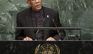 David Arthur Granger, President of Guyana, speaks during the United Nations General Assembly at U.N. headquarters, Wednesday, Sept. 20, 2017. (AP Photo/Seth Wenig)