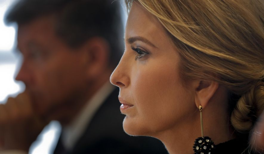Ivanka Trump listens as British Prime Minister Theresa May speaks during a session on action to end forced labor, modern slavery and human trafficking during the United Nations General Assembly, Tuesday, Sept. 19, 2017, at U.N. headquarters. (AP Photo/Julie Jacobson)