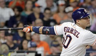 Houston Astros' Yuli Gurriel watches a two-run double during the fourth inning of a baseball game against the Chicago White Sox on Wednesday, Sept. 20, 2017, in Houston. (AP Photo/David J. Phillip)