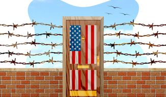 Trump's Door and Wall Illustration by Greg Groesch/The Washington Times