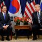 President Trump met with South Korean President Moon Jae-in on Thursday at the United Nations. (Associated Press)