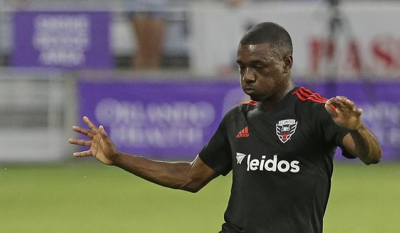 D.C. United's Chris Odoi-Atsem (3) warms up before the first half of an MLS soccer game against Orlando City, Wednesday, May 31, 2017, in Orlando, Fla. (AP Photo/John Raoux) **FILE**
