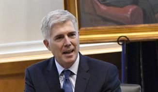 Justice Neil Gorsuch addresses the audience during his talk at the University of Kentucky, Thursday, Sept. 21, 2017, in Lexington, Ky. (AP Photo/Timothy D. Easley) ** FILE **