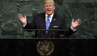 "FILE - In this Sept. 19, 2017, file photo, U.S. President Donald Trump addresses the 72nd session of the United Nations General Assembly, at U.N. headquarters. North Korean Foreign Minister Ri Yong Ho on Wednesday, Sept. 20, 2017 in New York described as ""the sound of a dog barking"" Trump's threat to destroy his country. (AP Photo/Richard Drew, File)"