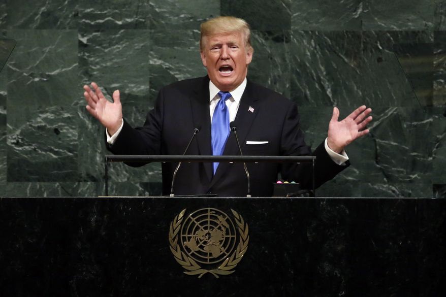 """FILE - In this Sept. 19, 2017, file photo, U.S. President Donald Trump addresses the 72nd session of the United Nations General Assembly, at U.N. headquarters. North Korean Foreign Minister Ri Yong Ho on Wednesday, Sept. 20, 2017 in New York described as """"the sound of a dog barking"""" Trump's threat to destroy his country. (AP Photo/Richard Drew, File)"""