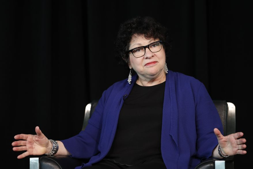 Supreme Court Justice Sonia Sotomayor pauses as she speaks the Newseum in Washington, Thursday, Sept. 21, 2017. (AP Photo/Carolyn Kaster)