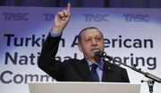 Turkey's President Recep Tayyip Erdogan addresses a Turkish-American group meeting in New York, Thursday, Sept. 21, 2017. Erdogan is in New York for the United Nations General Assembly.(Pool Photo via AP)