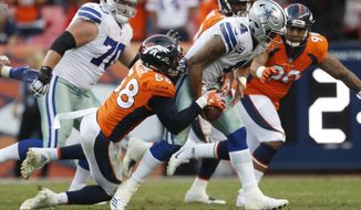 FILE - In this Sept. 17, 2017, file photo, Denver Broncos outside linebacker Von Miller (58) sacks Dallas Cowboys quarterback Dak Prescott (4) during an NFL football game in Denver. Miller and the Broncos face the Buffalo Bills this week. (AP Photo/Joe Mahoney, File)