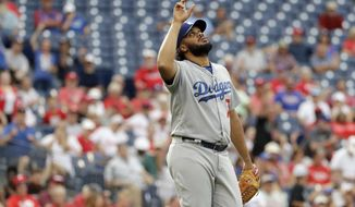 Los Angeles Dodgers relief pitcher Kenley Jansen reacts after a baseball game against the Philadelphia Phillies, Thursday, Sept. 21, 2017, in Philadelphia. Los Angeles 5-4. (AP Photo/Matt Slocum)